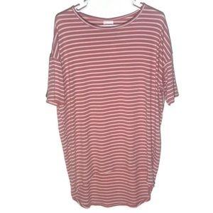 LulaRoe Pink And White Striped Irma Top